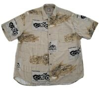JAMS WORLD  Men's Vintage Size XL Hawaiian Motorcycle Button Shirt Short Sleeve