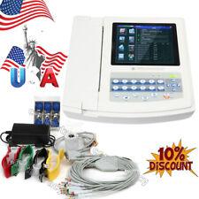 USA Portable Digital 12-channel Electrocardiograph ECG Machine W interpretation