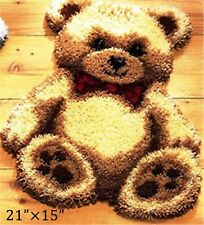 "GEX Latch Hook Kits Rugs DIY Craft Needle Cute Animals Little Bear Rugs 21""×15"""