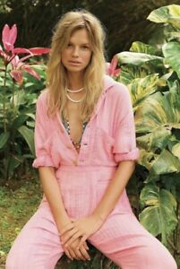 Free People Jumpsuit Double Cloth Gauzy Pink Shaded Button Front Pockets XS NWT