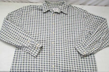 American Eagle Outfitters Long Sleeve Button Front Shirt Plaid Green Cream Blue
