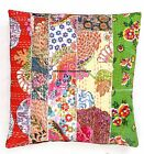 "Patch Kantha Quilted Cotton Cushion Cover 16"" Sofa Decor Indian Pillow Covers"