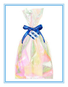 Bath & Body Works CLEAR TRANSPARENT IRIDESCENT Gift Wrap 8 Bags 8 Ribbon & CARD