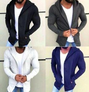 Oversize Pullover Cardigan Strickjacke Kapuze Herren Schwarz Blau Grau S-XXL