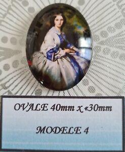 Cabochon verre ovale 40 x 30mm personnage style victorien modèle 4