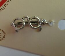 Sterling Silver 17x8mm Round Eye Glasses Eyeglasses Spectacles Charm