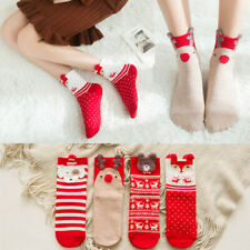 1 Pair Lovely Cartoon Animal Christmas Red Socks Cotton Short Warm Socks Gift