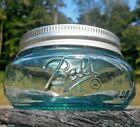 Squatty Mason JAR in AQUA BLUE Half Pint BALL Mason stained JAR in AQUA