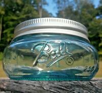 Squatty Mason JAR in AQUA BLUE Half Pint BALL Mason stained JAR in AQUA