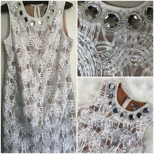 👗🛍 Liliana Ivory Jewel Neckline Swirl Textured Formal Cocktail Dress ~ 6 M3020