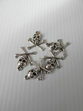 50pcs 15x10mm skull charm pendant antique silver punk goth craft  UK