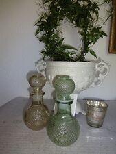 Dekoflasche 2er Flacon Glasflasche Vintage Landhaus Dekoration Glas Deko Shabby