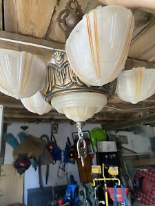 Vtg Org 6 light ART DECO 5 Slip Shade Hanging Fixture