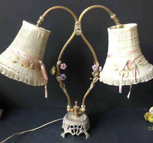 *RARE Vintage Metal ROSES Gold Antique DOUBLE Lamp Hollywood French Flowers