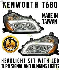 Kenworth T680 Chrome Projector Headlights Set Driver Passenger Pair LED