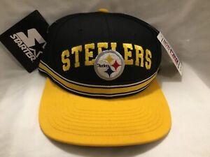 90's VTG * STARTER PROLINE * Pittsburg Steelers Black/Yellow StrapBack Hat  NWT