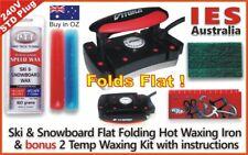 Ski-Snowboard Vitora Flat Folding Hot Waxing Iron+Red/Blue 2Temp Wax Kit&Guide
