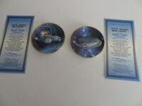 STAR TREK STARSHIPS 2 Plates USS Defiant NX-74205 & USS VOYAGER NCC-74656
