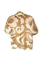 Vintage M S 100% Silk Pattern Short Sleeve Shirt Blouse Collarless Top Beige