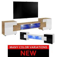 TV Lowboard LED Fernsehstand Glasböden Schrank Bridge v2 Speicherung