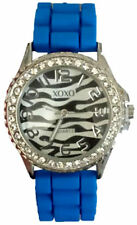 XOXO Women's XO8010 Rhinestones Accent Blue Silicone Strap Watch