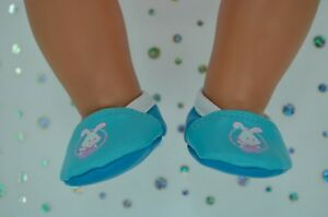 """Dolls Shoes For 17"""" Baby Born CUTE AQUA/TURQUOISE SHOES"""