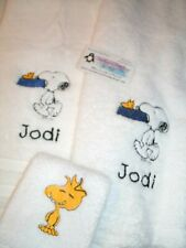 Snoopy carrying dogbowl Personalized 3 Piece Bath Towel Set Any Color Choice