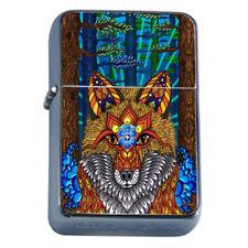 Psychedelic Animal Fox Em1 Flip Top Oil Lighter Wind Resistant With Case