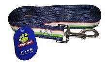 Top Paw Dog Pet Leash 1' x 6' ft 2.5cm x 1.8M Large Chain Clip Bones Blue Green