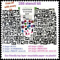 GLITTER TATTOO KIT 288 boy girl CAN ADD CHRISTMAS pokemon FROZEN OR REFILL ITEMS