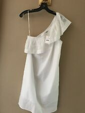 J. CREW FACTORY One Shoulder Eyelet Ruffle Cover Up/Dress White 4