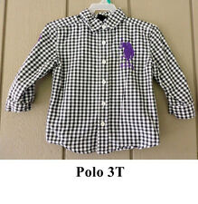 Boys 3T Polo Long Sleeve Black White Checked Lightweight Cotton Shirt Horse 3