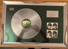 More details for beatles framed signed picture and silver disc
