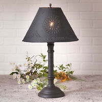 TABLE LAMP & PUNCHED TIN SHADE - Distressed Black over Red Crackle Finish USA