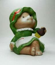 Homco Figurine Series #5600 - Mrs. Claus with Green Hat & Dress