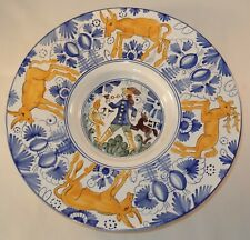 Made Hungary 31.5cm Handpainted Blue Yellow Hunting Scene MR Wall Plaque Plate