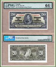 PMG CH UNC64+EPQ 1937 $20 KGVI Bank of Canada; E/E Prefix Gordon & Towers BC-25b