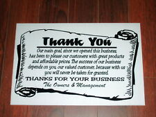 General Business Sign: Thank You For Your Business