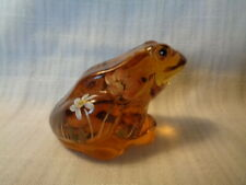 Fenton Art Glass Hand Painted Flowers On Amber Frog - Artist Signed - K. Riley