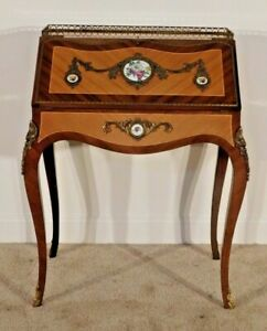 ANTIQUE French Louis XV Petite Lady's Inlaid Ormolu Desk w Porcelain Inserts