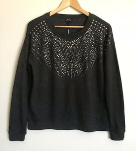 Bardot Myer Womens Stud Front Jumper Sweater NWT Charcoal Grey Size 10