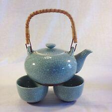Japanese Celadon Crackle Teapot & Cups (set of 3)