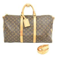 Authentic Louis Vuitton Keepall 50 Bandouliere Monogram Travel Hand Bag Shoulder