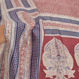 Sanskriti Vintage Indian Dark Red Sarees Pure Silk Printed Sari 5Yd Craft Fabric