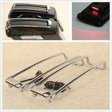 Hard Saddlebag Lid Trim Top Rails Rack W/ LED Light For Harley Road Glide 94-13