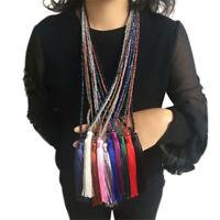 Fashion Women' Crystal Beaded Necklace Long Tassel Pendant Sweater Chain Jewelry