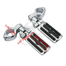 Pair Adjustable Footpeg Footrest With Clamps For Harley Softail Dyna Touring