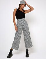 GAMILA CULOTTE TROUSER IN GINGHAM CREAM Size XS By Motel