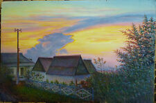 ORIGINAL OIL Painting Hand painted village Landscape Artwork wall ART home decor