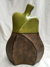 Pottery Art Ceremic Vase Bottle Brown with Green  Pear Shape   cp